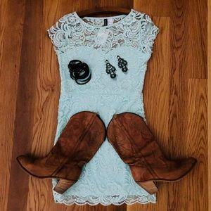 Mint lace dress - size 10